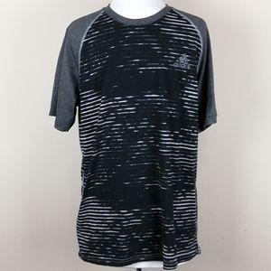 4/$25 Adidas Ultimate Tee gray/black striped shirt